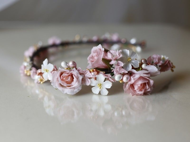 Soft pink and ivory floral wedding hairband - product images  of