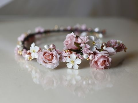 Soft,pink,and,ivory,floral,wedding,hairband,Soft pink and ivory floral wedding hairband, warren york wedding hair accessories, floral hair accessories, bridal floral accessories, flower hair band, floral wedding hair accessories, flower wedding hair accessories