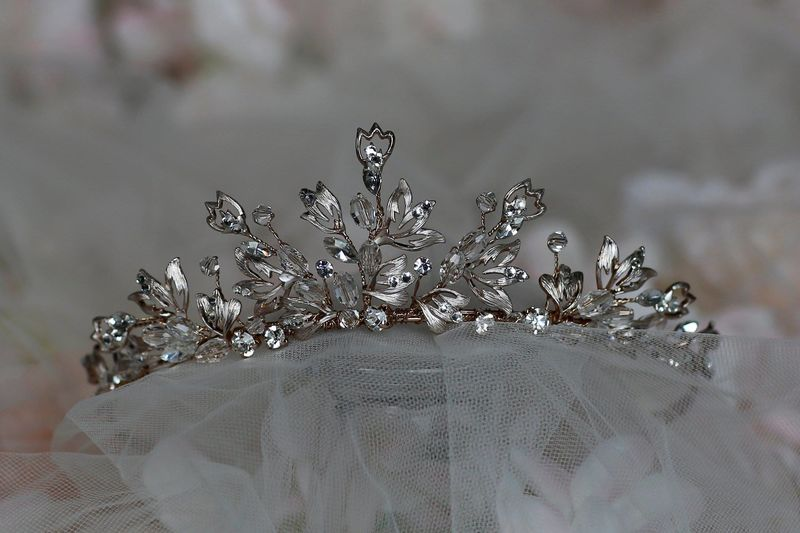 Diamante leaf style wedding tiara  - product images  of