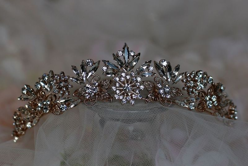 Rose gold diamante wedding tiara - product images