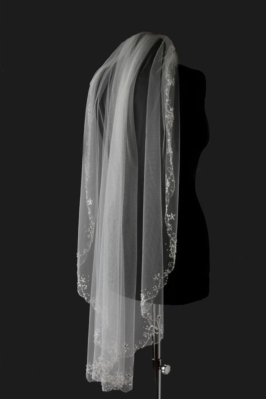 Single layered with beaded scroll edge wedding veil - product images  of