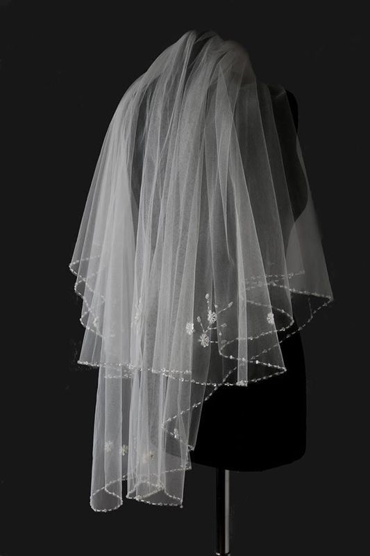 Two layered beaded edge wedding veil  - product images  of