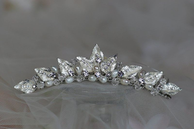 Fresh water pearl and silver leaf wedding tiara comb - product images