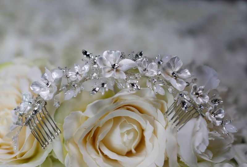 Porcelain floral and diamante wedding double hair comb - product images