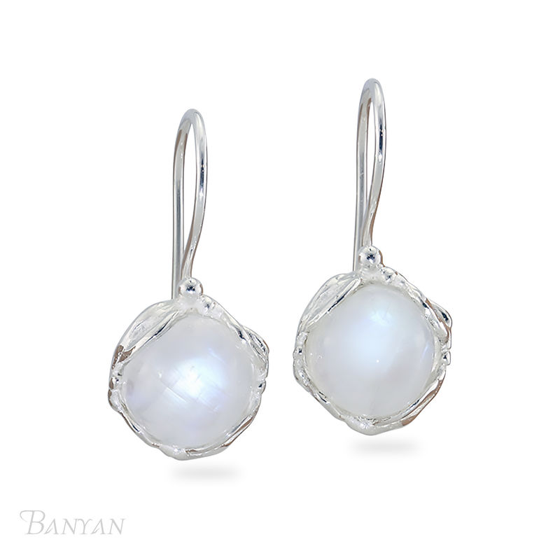 Round drop moonstone wedding earrings - product images