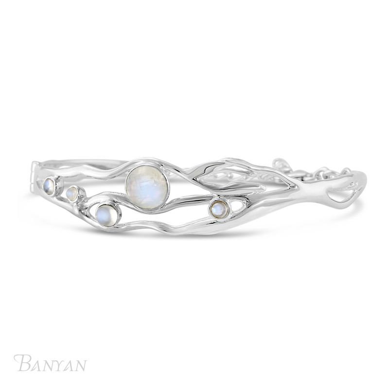 Moonstone gemstone sterling silver wedding bangle  - product images
