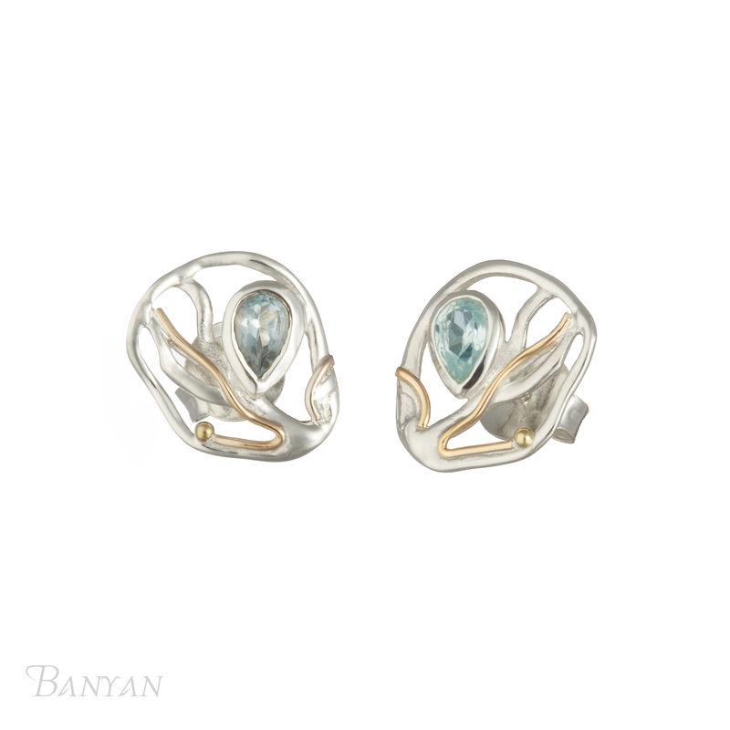 Tear drop faceted blue topaz stud wedding earrings - product images