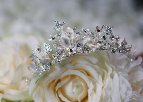 Pearl,and,diamante,floral,wedding,tiara,Pearl and diamante floral wedding tiara, wedding tiara, princess style tiara, vintage style wedding tiara,