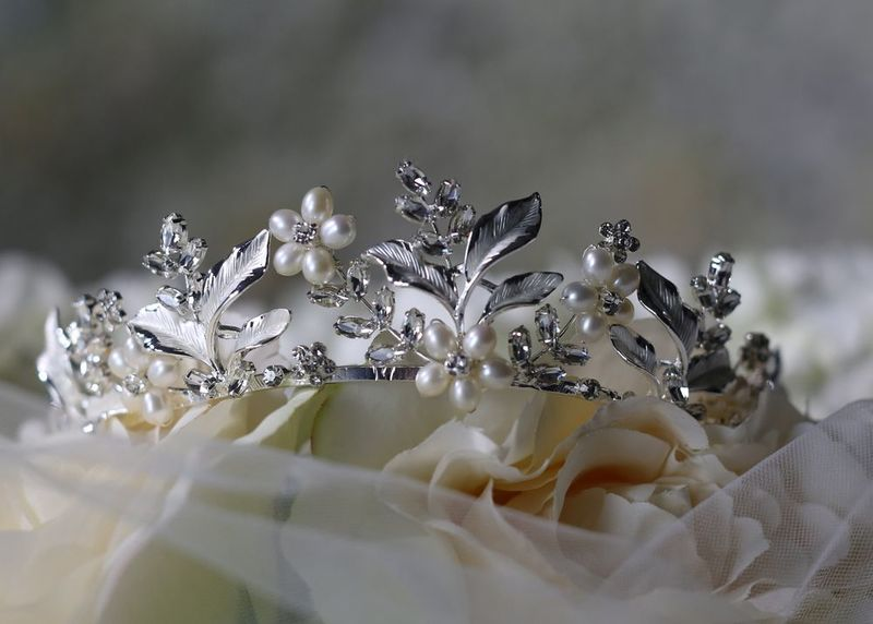 Floral pearl and diamante wedding tiara - product images