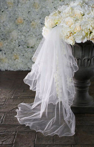 Two layered wavy edge with a scattering of pearls wedding veil  - product images  of