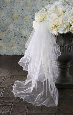 Two,layered,wavy,edge,with,a,scattering,of,pearls,wedding,veil,Two layered wavy edge with a scattering of pearls wedding veil, pearl wedding veil two tiered wedding veil, bridal veil, wavy edge veil, two layered wedding veil