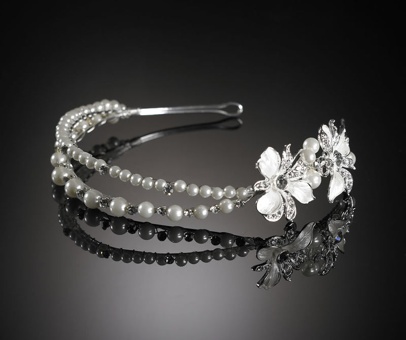 Vintage flower and pearl double wedding hairband - product images  of