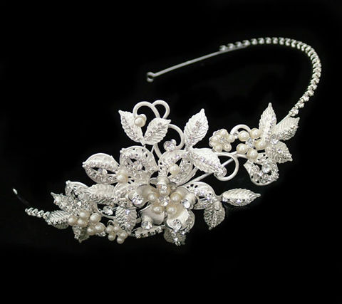 Pearl,and,floral,wedding,side,headband,Pearl and floral wedding hairband, pearl and diamante bridal hairband, pearl and diamante side wedding tiara, floral wedding hair band, silver side tiara, tiaras, wedding hair accessories, pearl wedding hair accessories