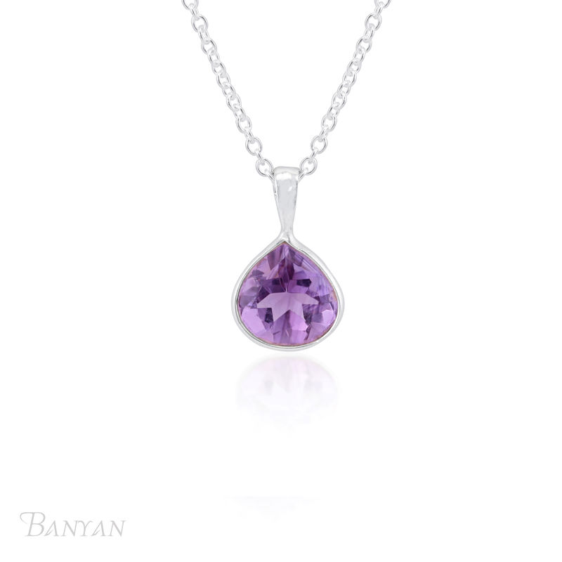 Amethyst drop pendent and sterling silver chain wedding necklace - product images