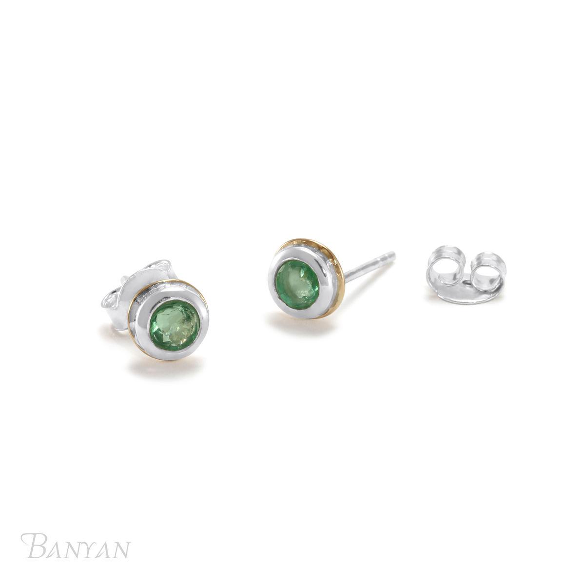 325241aa936 Emerald gemstone sterling silver stud wedding earrings
