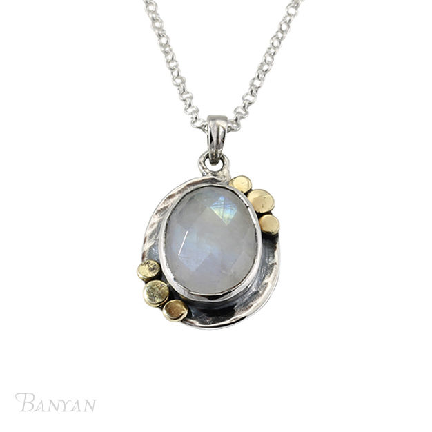 Moonstone pendent and sterling silver chain wedding necklace - product images