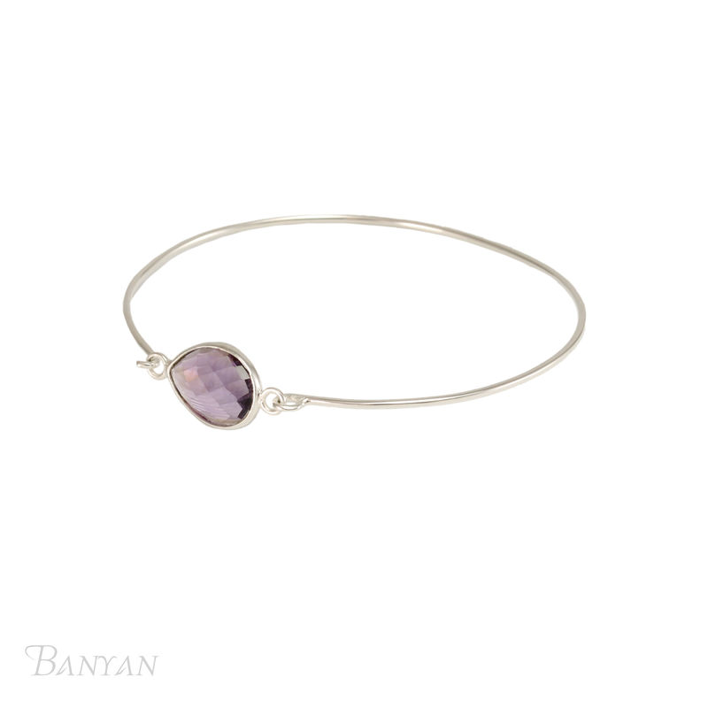 Gemstone sterling silver wedding bangle - product images  of