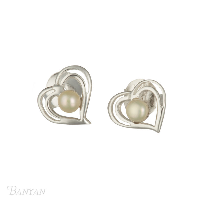 Pearl and sterling silver heart stud wedding earrings - product images