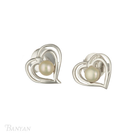 Pearl,and,sterling,silver,heart,stud,wedding,earrings,Pearl and sterling silver heart stud wedding earrings, pearl stud wedding earrings, wedding earrings, pearl bridal earrings, sterling silver heart stud wedding earrings, stud wedding earrings