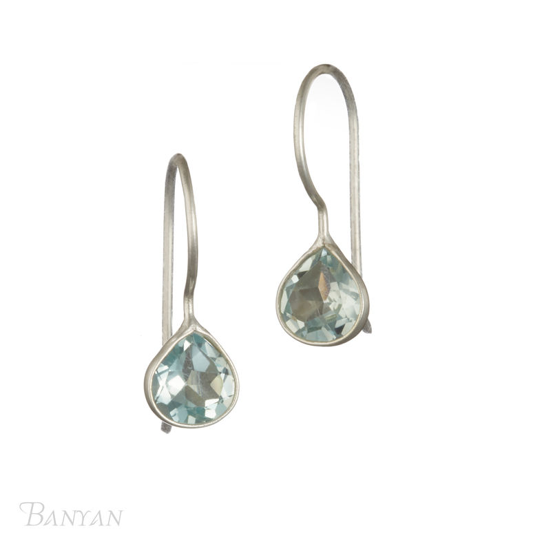 Blue topaz tear drop shepherd hook wedding earrings - product images