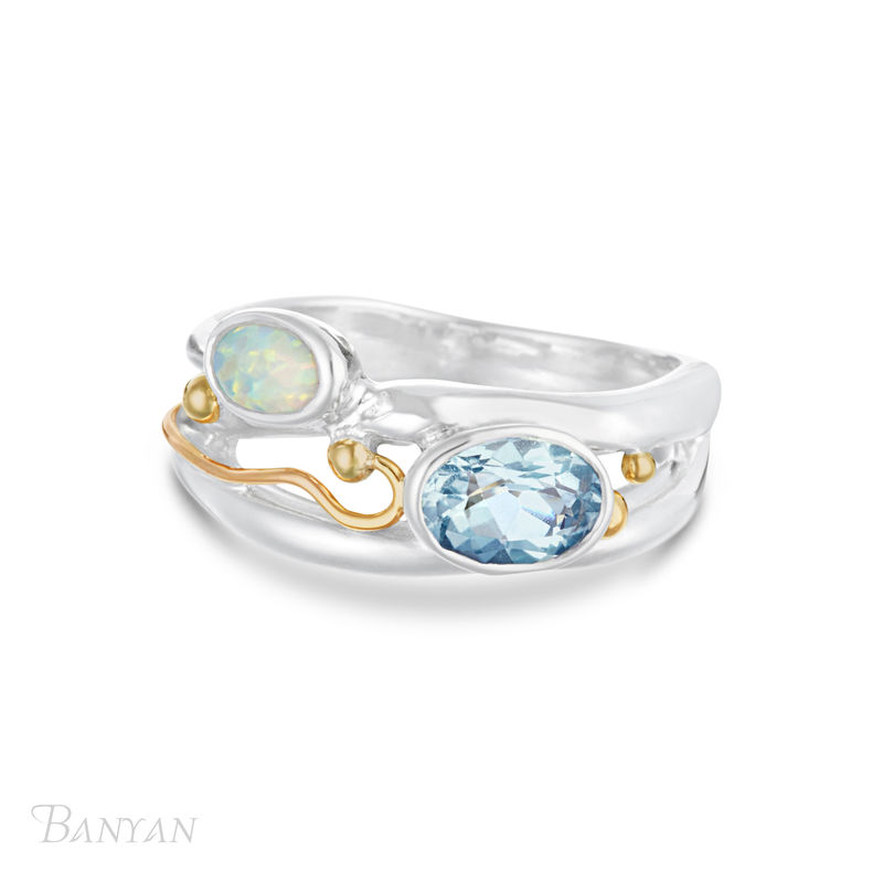 Blue topaz and opalite sterling silver ring - product images