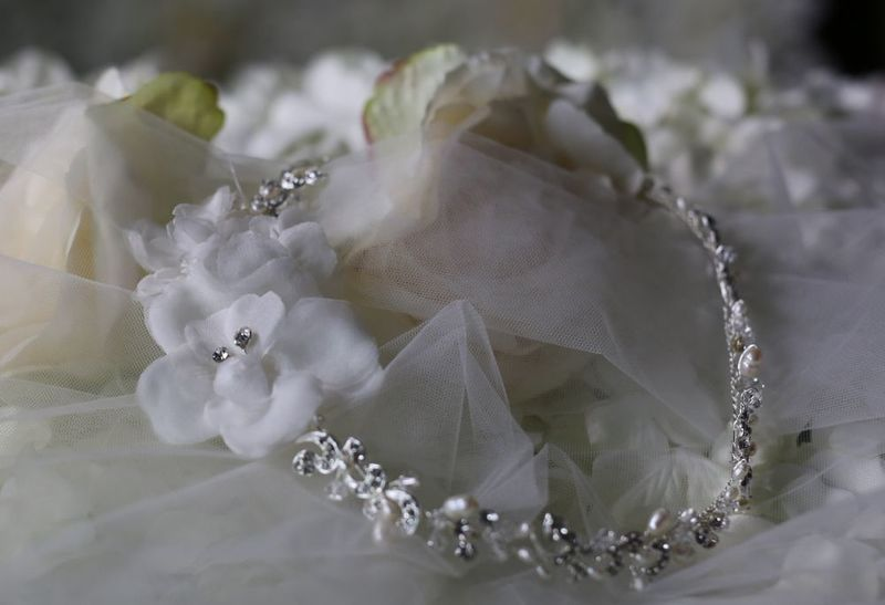 Diamante and pearl wedding hair vine with flowers - product images  of
