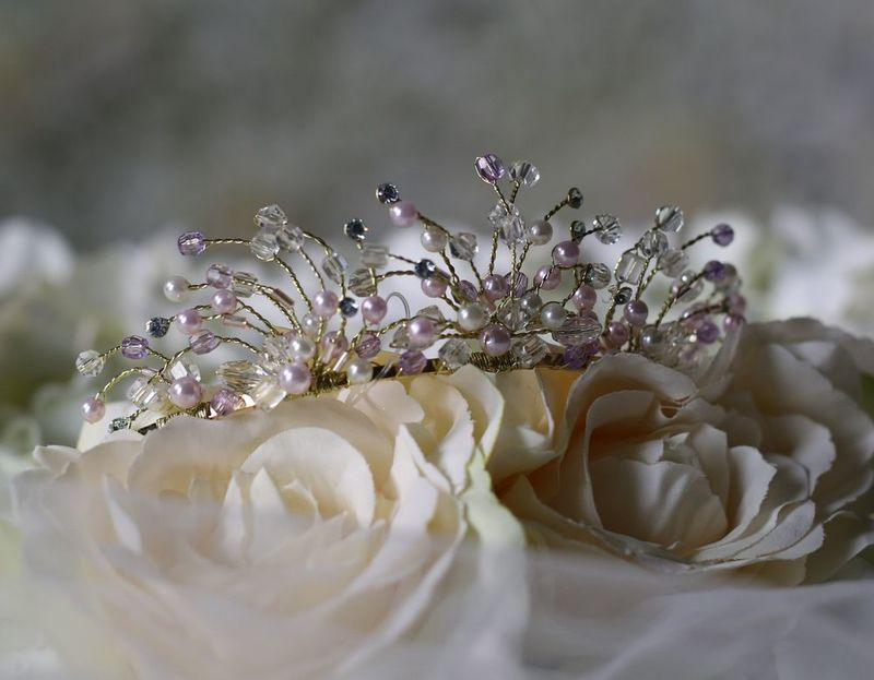 Pastel freshwater pearl and crystal wedding tiara - product images  of