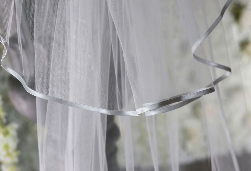 Two layered plain wedding veil with 1/2cm satin edge - product images  of