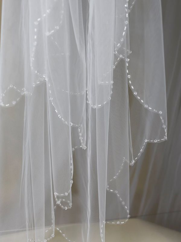 Two layered crystal beaded scalloped edge wedding veil - product images  of