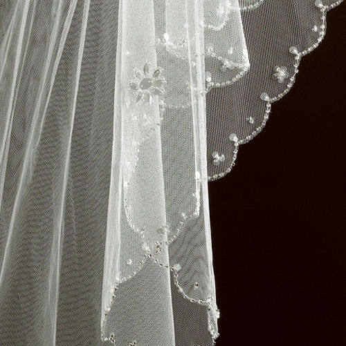Scalloped edge floral beaded wedding veil - product images  of