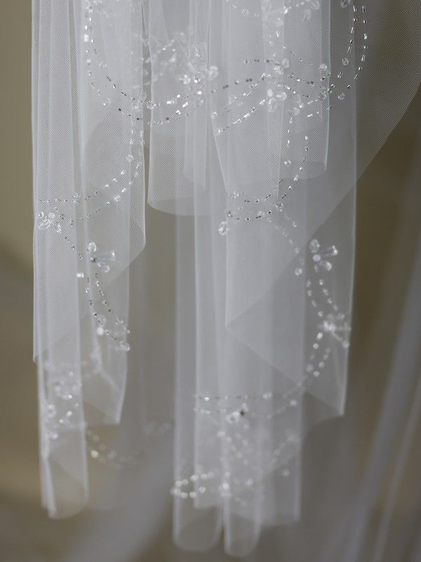 Intricate beaded crystal edge wedding veil  - product images  of