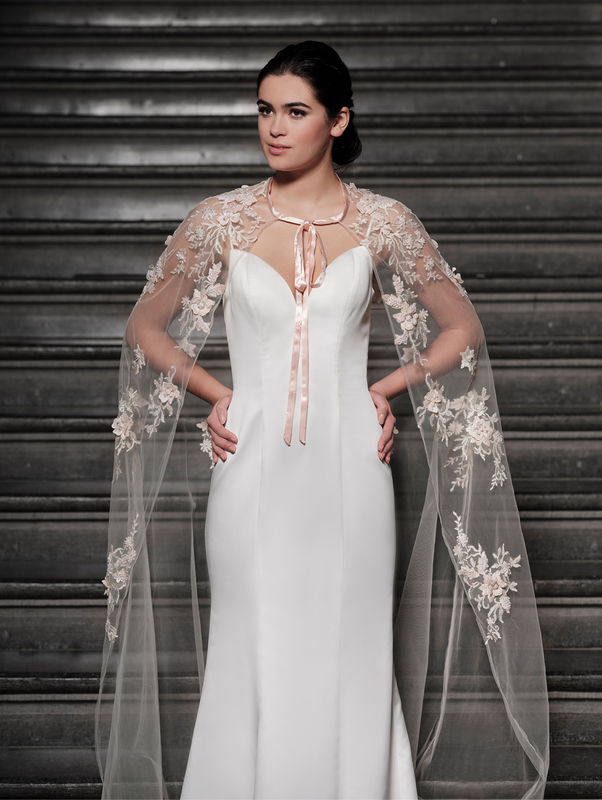 Soft peach floral lace long wedding  cape  - product images  of
