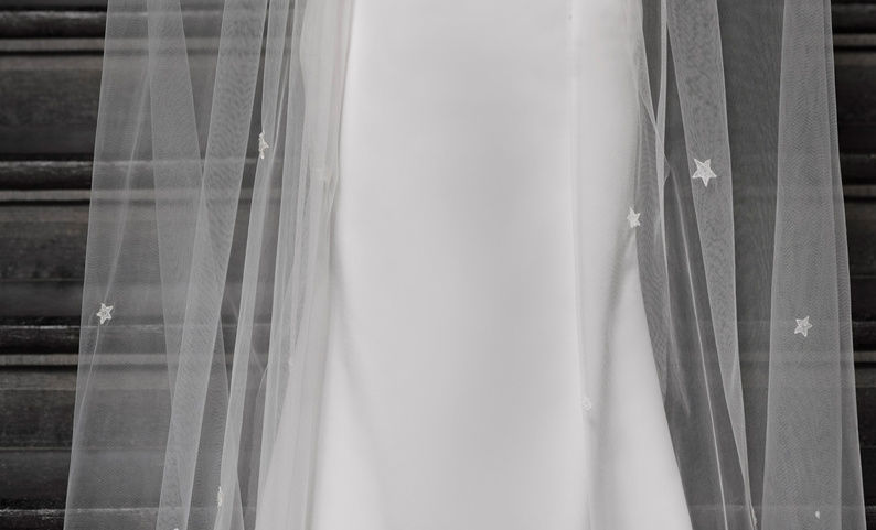 Sprinkled with stars cathedral ivory wedding veil - product images  of