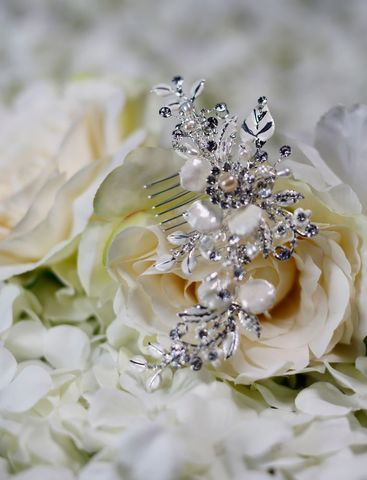 Porcelain,flower,and,diamante,wedding,hair,comb,Porcelain flower and diamante wedding hair comb, accessories for weddings, hair accessories for brides, hair accessories for guests, uk hair combs, floral wedding hair comb, bridal wedding hair comb, wedding hair accessories, silver wedding hair comb, war