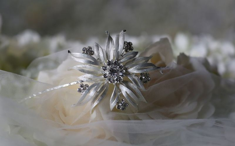 Large silver flower bridal headband - product images