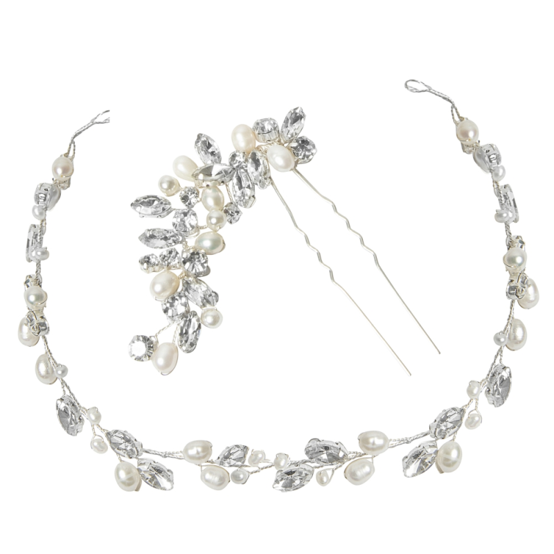 Pearl bridal hair vine and hair pin wedding set - product images  of