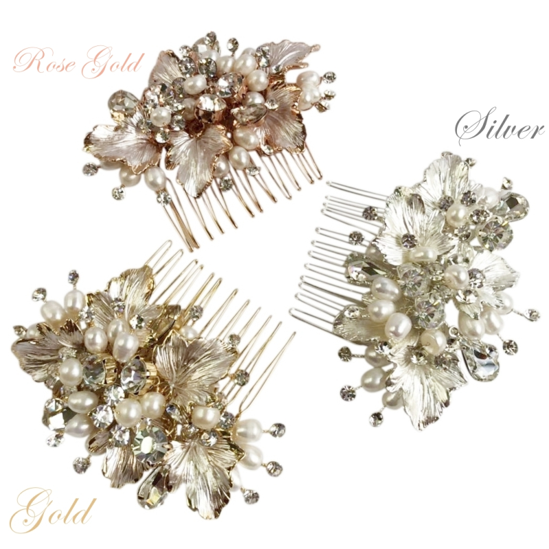 Set of 3 diamante and pearl bridesmaid hair combs  - product images  of