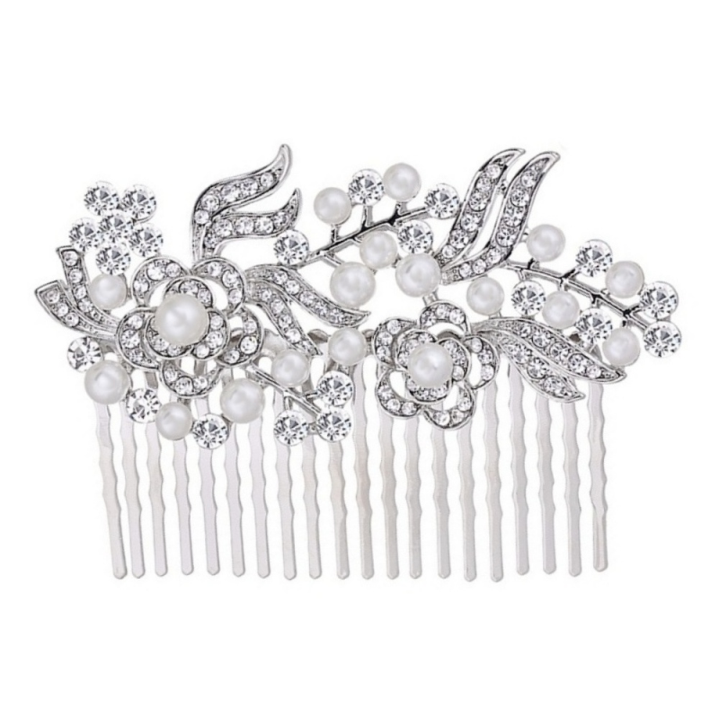 Set of 3 bridesmaid vintage pearl and diamante silver hair comb - product images  of