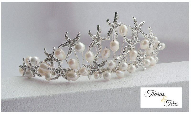 Starfish and freshwater pearl wedding tiara