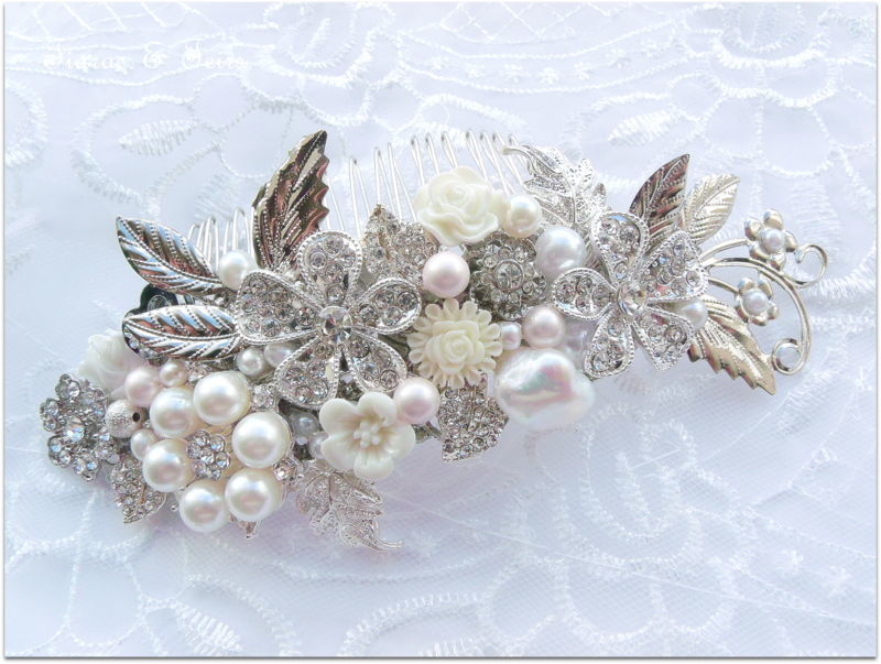 Pastel and silver floral wedding hair comb