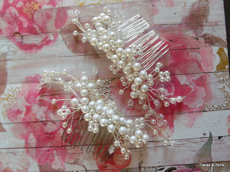 Two pearl and crystal bridal hair combs