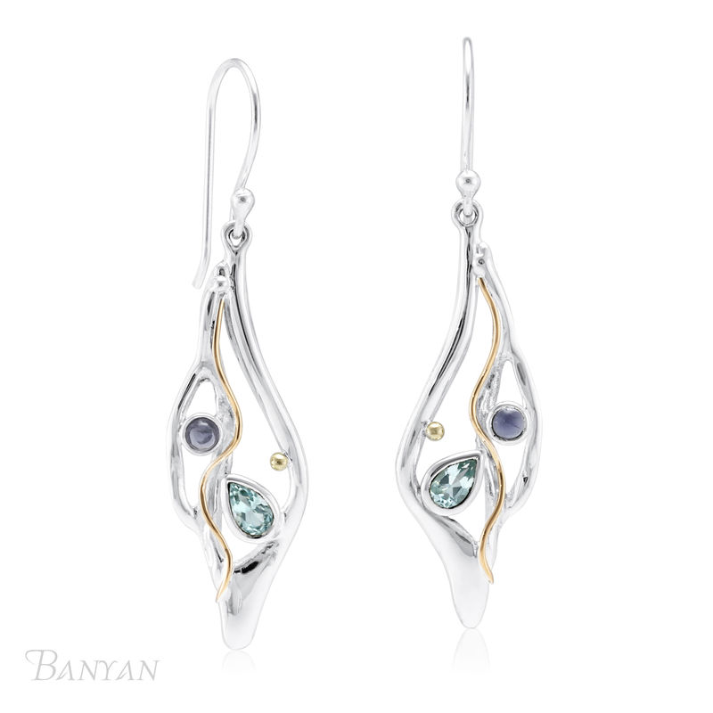 Unique blue topaz and iolite gemstone drop wedding earrings - product images