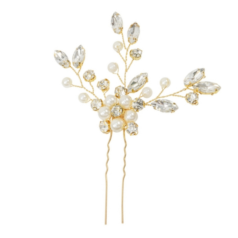 3 pearl and diamante gold wedding hair pins - product images  of