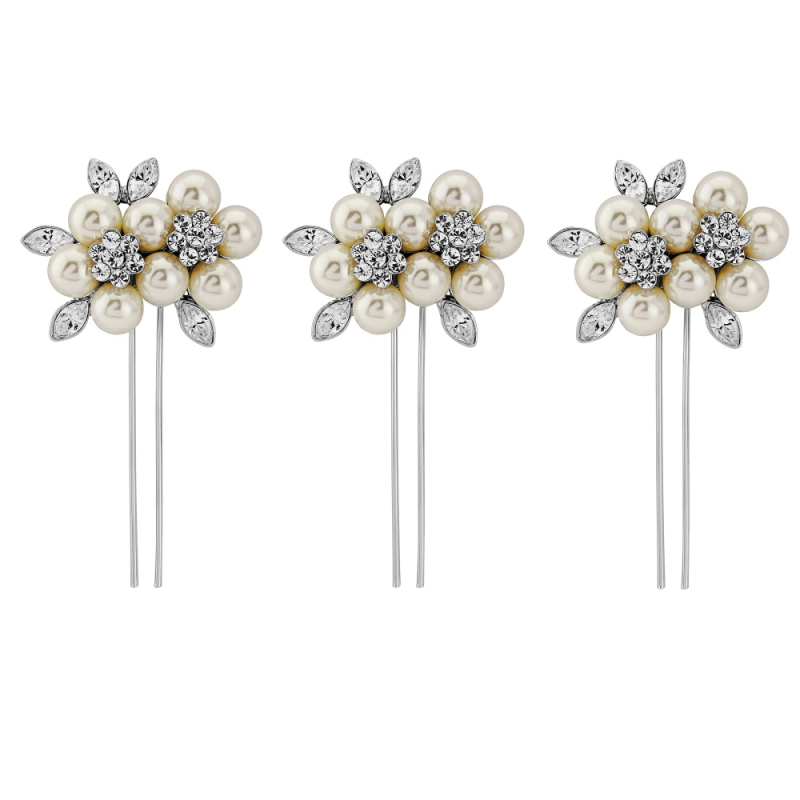 Set of 3 pearl and crystal vintage wedding hair pins - product images  of