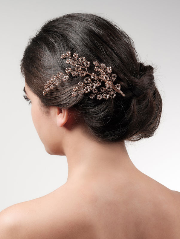 Beaded rose gold wedding hair clip - product images  of