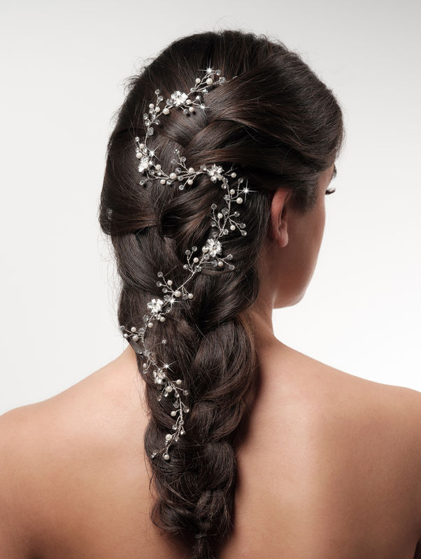 Extra long pearl and crystal wedding hair vine - product images  of