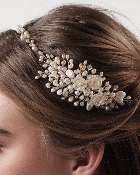 Ivory and blush freshwater pearl wedding hair vine - product images  of