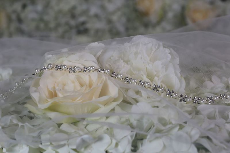 Pearl and diamante thin wedding dress belt  - product images  of