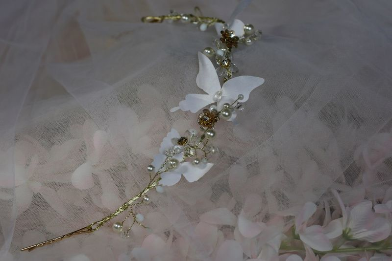 Butterfly and floral gold wedding hair vine  - product images