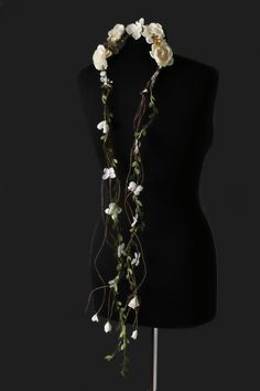 Boho chic wedding floral crown with vine leaf streamers  - product images  of